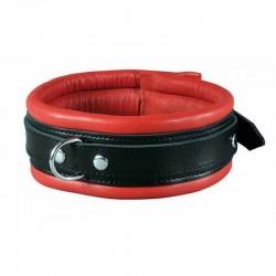 Collier fin en cuir rouge et noir