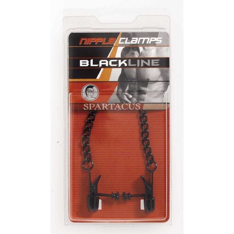 SPARTACUS Pinces à tétons noires avec chaine