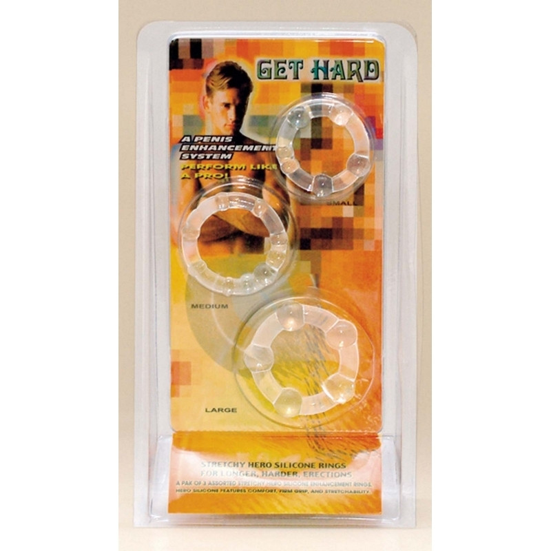 GET HARD Set de 3 Cockring flexible transparent