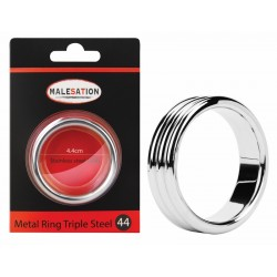 MALESATION Metal Ring Triple Steel 44