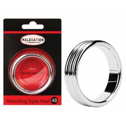MALESATION Metal Ring Triple Steel 48