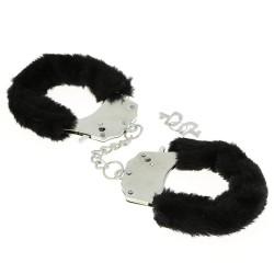 BLACK WOLF Menottes en fourrure noire