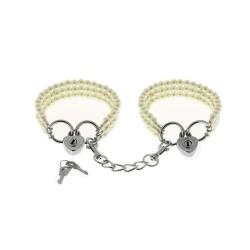 BLACK WOLF Menottes perles nacrées couleur blanche