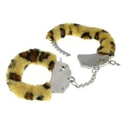 BLACK WOLF Menottes en fourrure léopard