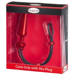 MALESATION Cock-Grip avec Alu-Plug moyen, rouge