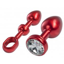 MALESATION Alu-Plug mit poignée et pierre d'ornement petit, rouge