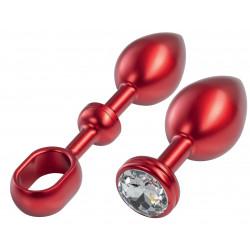MALESATION Alu-Plug poignée et pierre d'ornement grand, rouge