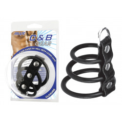 """BLUE LINE C&B GEAR Cockring 3 anneaux silicone + boucle """"Gates of Hell"""""""