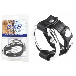 BLUE LINE C&B GEAR Cockring Métal avec sangle cuir noir