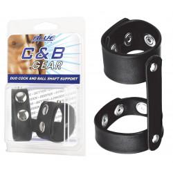 BLUE LINE C&B GEAR Duo cockring pour pénis et testicules cuir noir