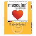 MASCULAN Préservatif Ribbed + Dotted par 3