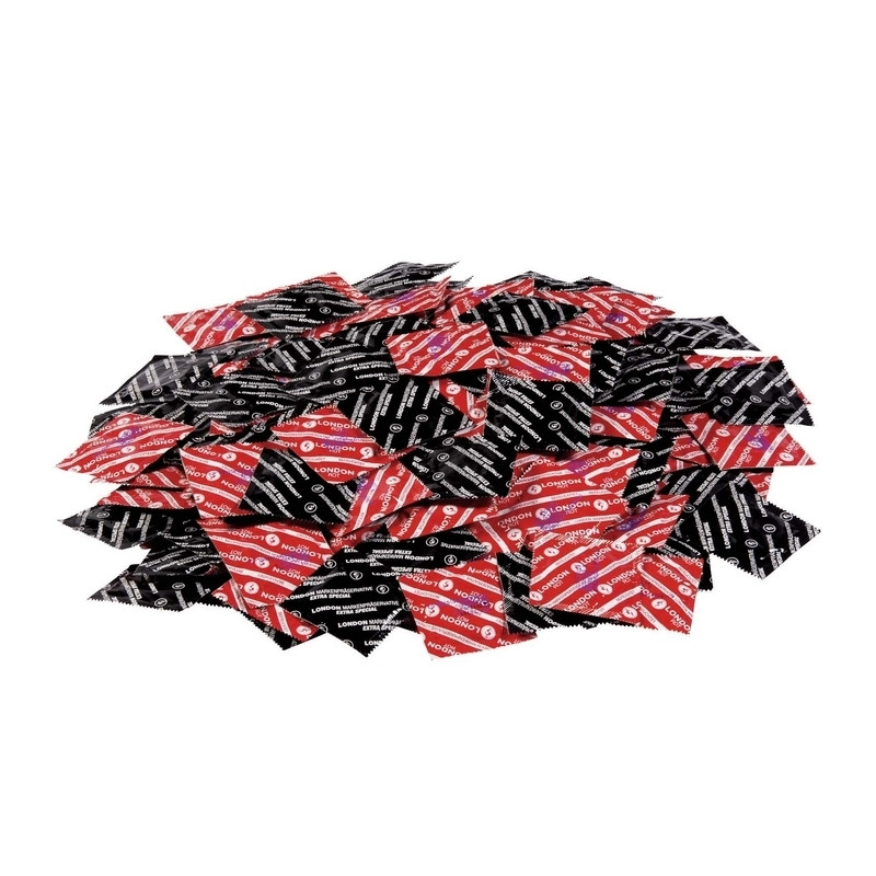 LONDON préservatifs rouge fraise par 100